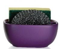 Подробнее о Контейнер Andrea House CC63013 для мыла, губки керамика фиолетовая/хром