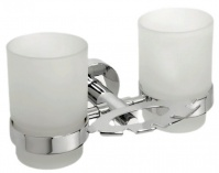 Подробнее о Стакан двойной Bemeta Omega 104110042 с держателем зубных щеток хром/стекло матовое