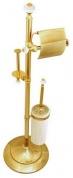Подробнее о Стойка с аксессуарами Boheme Hermitage Gold 10368 напольная золото / керамика белая