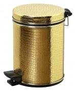 Подробнее о Ведро Cameya 03GKR-9 для мусора (3 литра) экокожа `крокодил` золото