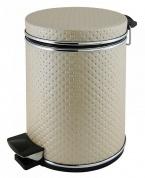 Подробнее о Ведро Cameya 05PLH-9 для мусора (5 литров) экокожа цвет бежевый/молдинг хром