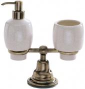 Подробнее о Стакан и дозатор Carbonari Celeste Anticata PACE2 ANT BR настольные античная бронза / керамика белая