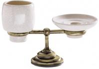 Подробнее о Cтакан и мыльница Carbonari Gamma Anticata PAGA ANT BR настольные античная бронза / керамика белая
