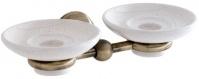 Подробнее о Мыльница двойная Carbonari Celeste Anticata PDCE ANT BR подвесная античная бронза / керамика белая