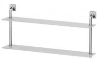 Подробнее о Полка Ellux Avantgarde AVA 039 стеклянная 80 х h37,9 cм 2-х ярусная хром / стекло