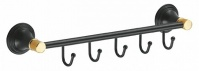 Подробнее о Вешалка с крючками Fixsen Luksor FX-71605-5B на планке (5 шт.) цвет черный