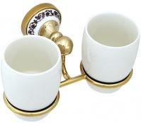 Подробнее о Стакан Fixsen Bogema Gold FX-78507G подвесной двойной золото/керамика белая