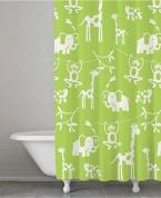 Подробнее о Шторка Kassatex Jungle SKK-115-JUN-GRN для ванны цвет зеленый
