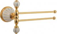 Подробнее о Полотенцедержатель Migliore Olivia ML.OLV-60.624.BO.DO двойной поворотный длина 20 см золото / керамика (декор золото