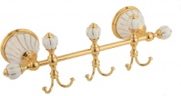 Подробнее о Крючки Migliore Olivia ML.OLV-60.639.BO.DO на планке (3 шт) золото / керамика (декор золото)