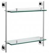 Подробнее о Полка Raiber R50117 стеклянная 38 см двойная хром/стекло матовое