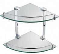 Подробнее о Полка стеклянная Schein Elite 7057055 угловая двойная с ограничителем хром /стекло прозрачное