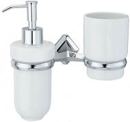 Подробнее о Стакан с дозатором мыла Wasserkraft Aller K-1100 K-1189C подвесные хром/керамика белая