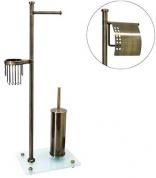 Подробнее о Стойка с аксессуарами Wasserkraft Exter K-1234 напольная бронза светлая/стекло матовое