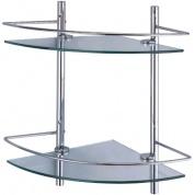 Подробнее о Полка угловая Wasserkraft K-3122 стеклянная двойная 30,5 х 30,5 х h42 см хром/стекло прозрачное