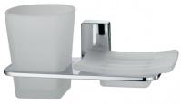 Подробнее о Стакан и мыльница Wasserkraft Leine K-5000 K-5026 подвесные хром/стекло матовое